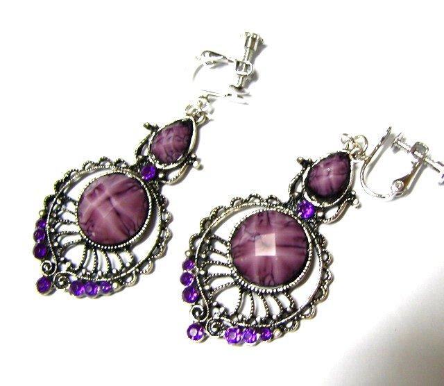 *FREE SHIPPING*E1740 Rhinestone Dangle Purple Clip On Earrings 6cm Gorgeous!