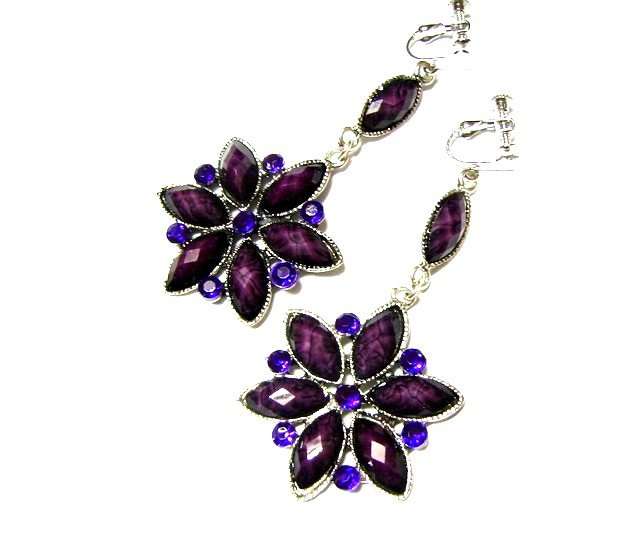 *FREE SHIPPING*E1737 Purple Rhinestone Floral Dangle Clip On Earrings 8cm beautiful!