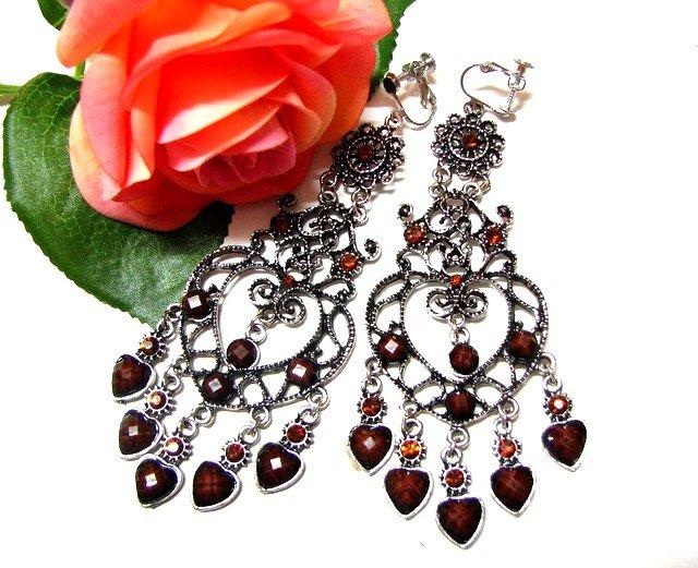 *FREE SHIPPING*E1731 Brown Rhinestone Dangle Exotic Jewelry Clip On Earrings 10.5cm Huge!