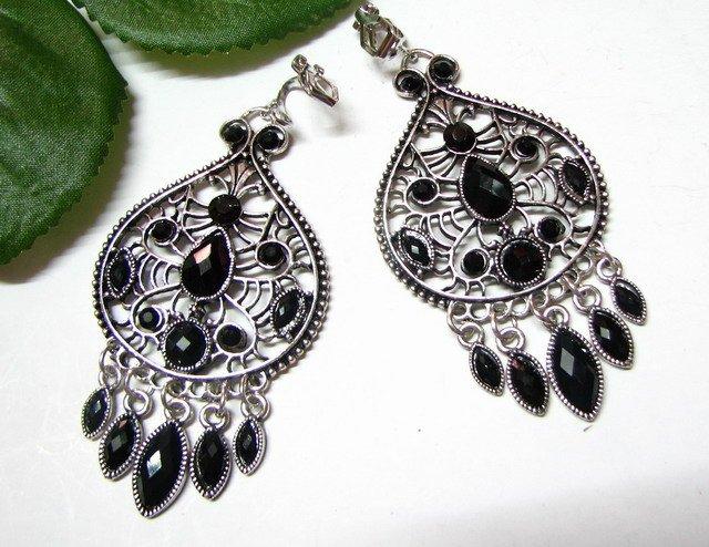 *FREE SHIPPING*E1724 Rhinestone Dangle Black Clip On Earrings 7cm cOOl!!