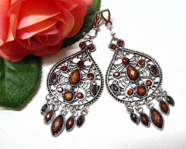 *FREE SHIPPING*E1723 Brown Rhinestone Dangle Clip On Earrings 7cm Charming!!