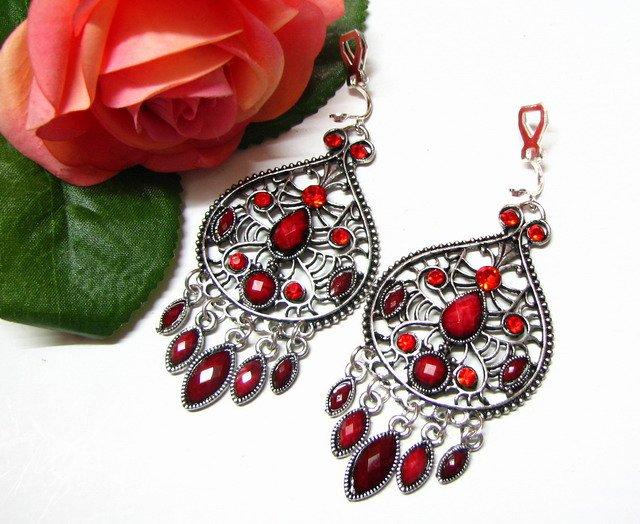 *FREE SHIPPING*E1722 Rhinestone Dangle Red Clip On Earrings 7cm Charming!!