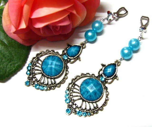*FREE SHIPPING*E1718 Rhinestone Dangle Blue Clip On Earrings 7cm