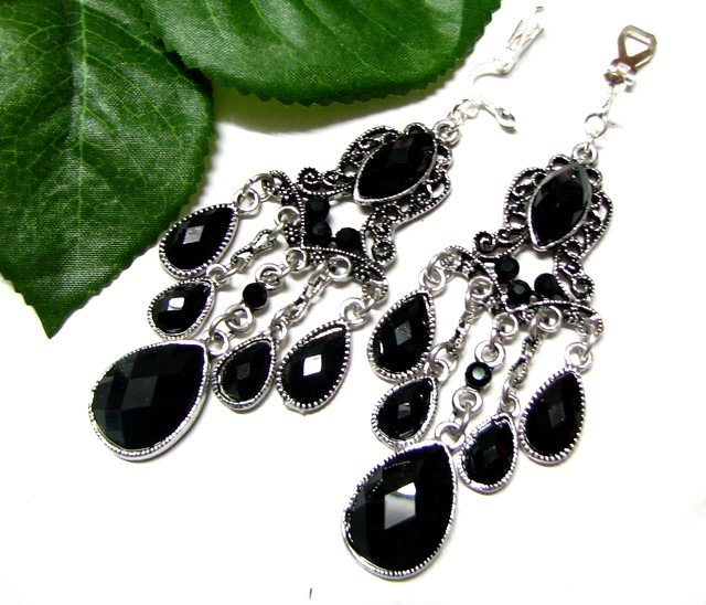*FREE SHIPPING*E1707 Rhinestone Dangle Black Clip On Earrings 8.5cm cOOl!!