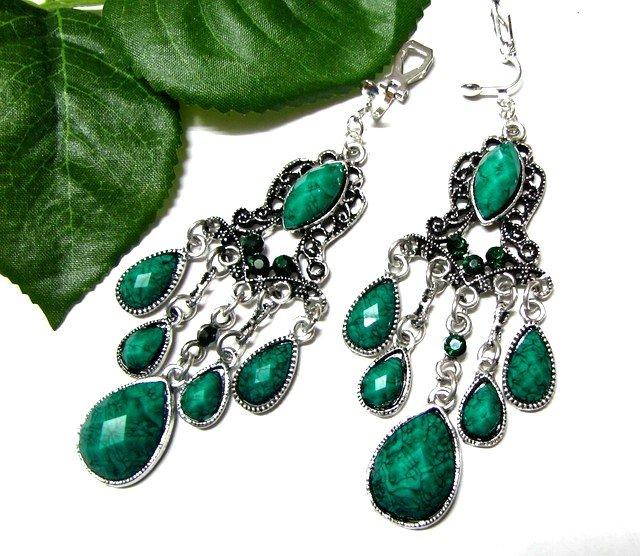 *FREE SHIPPING*E1706 Green Rhinestone Dangle Clip On Earrings 8.5cm cOOl!!