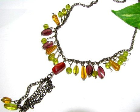 *FREE SHIPPING*NB573 BROWN & GREEN glass beads DANGLE NECKLACE 18 inches