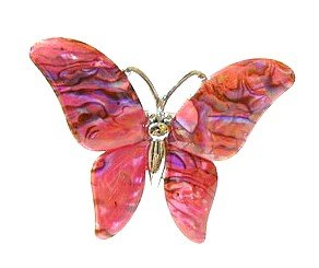 free shipping ~ P120  MOTHER OF PEAL SHELL BUTTERFLY PINK BROOCH 4x6cm