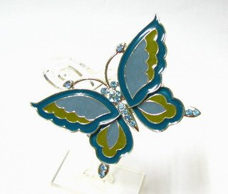 free shipping ~ rhinestone blue butterfly BROOCH P102 Gorgeous!