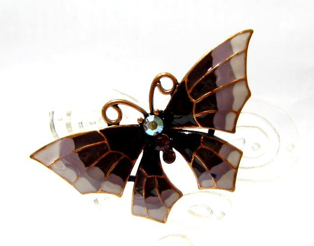 free shipping ~ Purple rhinestone Butterfly BROOCH P127 Charming