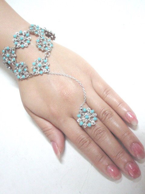 free shipping~ BA151 ETHNIC TRIBAL FLORAL BRACELET WITH RING