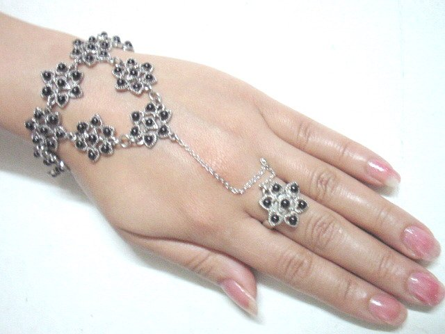 free shipping BA150 ETHNIC TRIBAL JEWELRY FLORAL BRACELET WITH RING