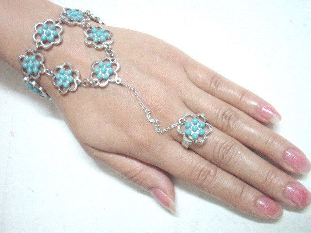 free shipping BA147 ETHNIC TRIBAL JEWELRY FLORAL BRACELET WITH RING