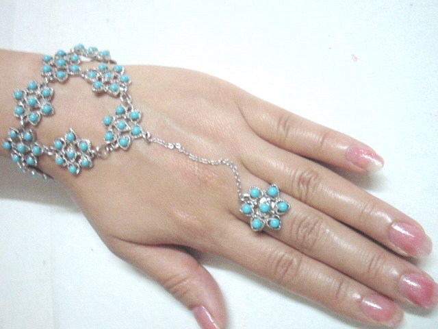 free shipping BA149  ETHNIC TRIBAL FLORAL BRACELET WITH RING