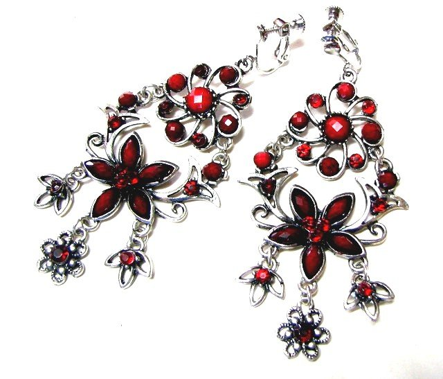 *FREE SHIPPING*E1626 Red Floral Rhinestone Clip On Earrings 8cm Charming exotic Jewelry Earrings
