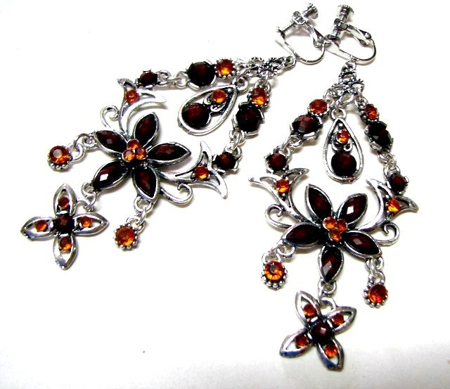 E1628 Rhinestone Brown Floral Clip On Earrings 8cm  ~ FREE SHIPPING~