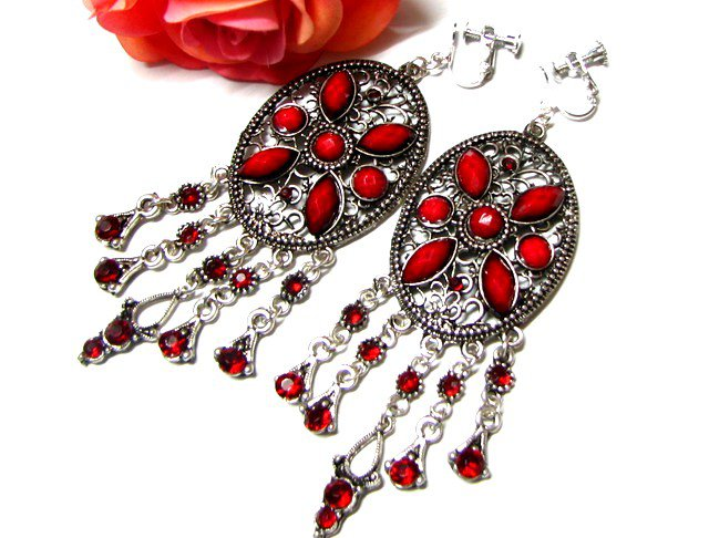 ~FREE SHIPPING~ E1659 Red Rhinestone Charming Clip On Earrings 8.5cm
