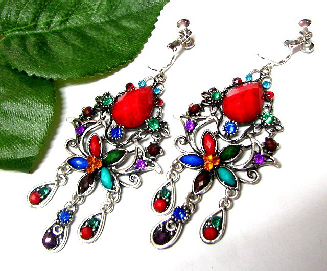~FREE SHIPPING~E1688 Rhinestone Exotic Colorful Clip On Earrings 8cm