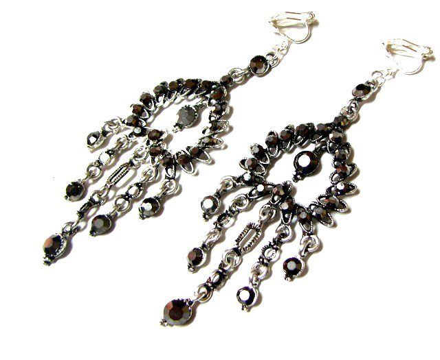 E1641 Exotic Rhinestone Black Clip On Earrings 9cm