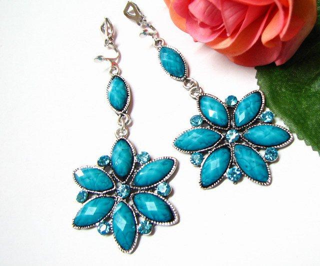 E1658 Blue Rhinestone Floral Exotic Clip On Earrings 7.5cm
