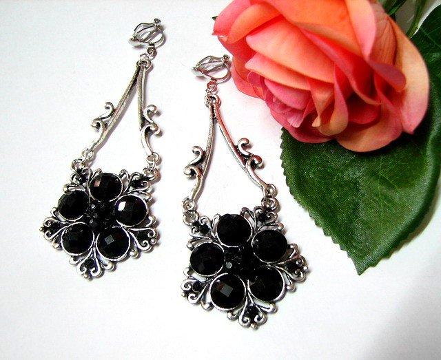 E1664 Dark Floral Rhinestone Clip On Earrings 8.5cm