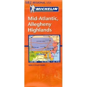 Michelin Map USA Mid-Atlantic, Allegheny Highlands 582 (Michelin Maps) (Map)