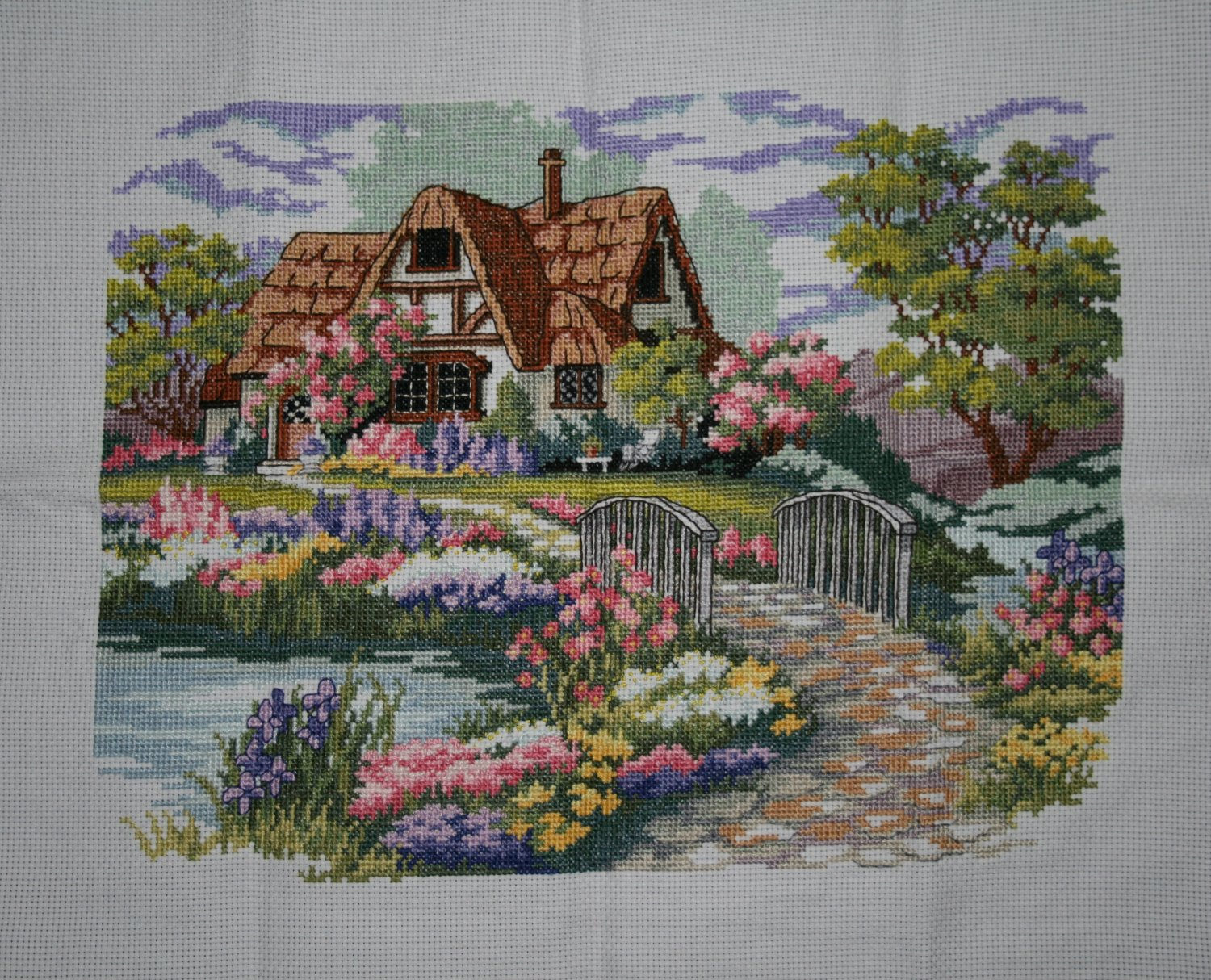 Finished Handmade Cross Stitch of Country Home