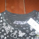 Brand New Girls black top w/Butterflies & Hearts by The Children's Place - size 7/8    (AA9)