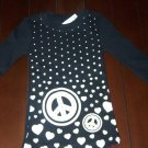 Brand New Girls top by The children's Place - Black w/White Hearts - size 5/6  (AA11)