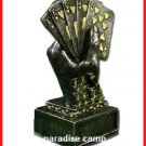 p-c METAL PEWTER HOLD EM POKER AWARD TROPHY HAND HOLDING ROYAL FLUSH PLAYING CARDS FREE U.S. POST