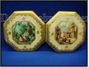 Set of Vintage Tuscan prints on wood made in Italy