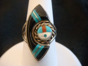Vintage Zuni Sterling Inlay Ring Size 5