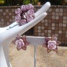Vintage Miriam Haskell Purple glass Brooch & Earrings Demi