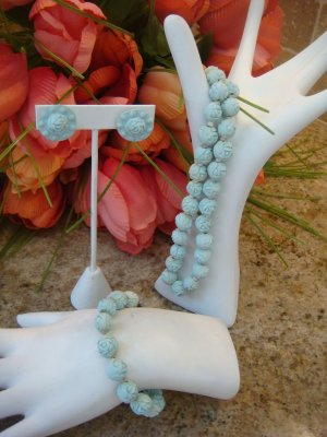 VINTAGE 1940 ROSETTE FULL PARURE Necklace earrings  bracelet
