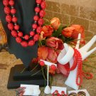 VINTAGE LOT OF RED AND WHITE COSTUME JEWELRY