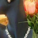 VINTAGE RHINESTONE CHOKER & AURORA BOREALIS CLIP ON EARRINGS