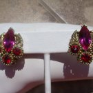 VINTAGE HOT PINK & RED CLIP ON EARRINGS