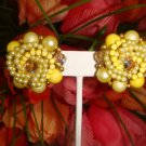 VINTAGE 1950'S AURORA BOREALIS & YELLOW BEAD not available MIRIAM HASKELL STYLE EARRINGS