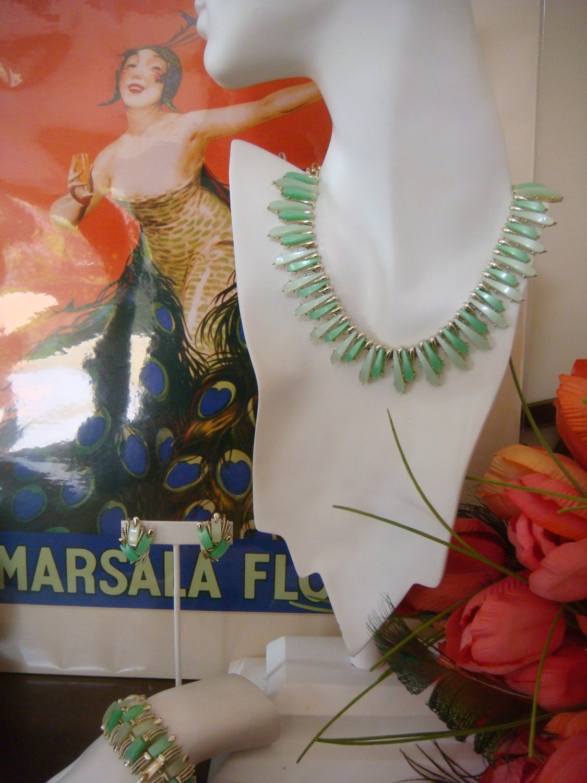 Estate Vintage Coro Necklace, Bracelet, Earrings Lucite