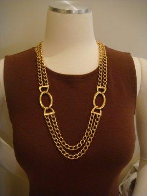 Vintage Napier Gold Tone Double Chain Necklace