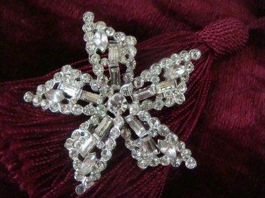 Vintage Estate Unsigned Rhinestone Star Burst Brooch Pin