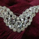 Vintage Estate Unsigned Rhinestone V Wing Shaped Brooch Pin