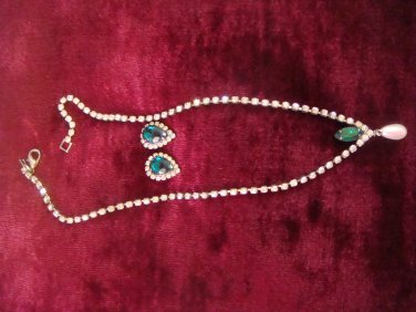 Estate Unsigned Clear & Emerald Rhinestones with Faux Pearl Drop Necklace & pierced earring set
