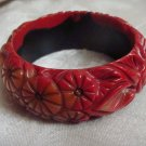 Estate Vintage Morning Bakelite, Celluloid Plastic Carved Bangle Bracelet