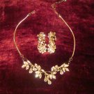 Estate Vintage Unsigned Rhinestone Necklace and Earrings Set Bridal, Wedding, Special Event
