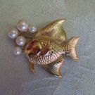 Estate Unsigned Fish blowing Pearl Bubbles Brooch Pink