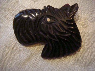 Estate Vintage Bakelite, Celluloid Plastic Carved Scottie Dog Brooch Pin