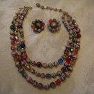 Estate Vintage Japan Multi Strand Beaded Necklace and Earring Set