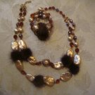 Estate Vintage Rare Signed Hobe Mink, Baroque and Faceted Beaded Necklace and Bracelet