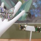 Beautiful Vintage TAXCO Sterling Silver Abalone Butterfly Brooch Earring Set