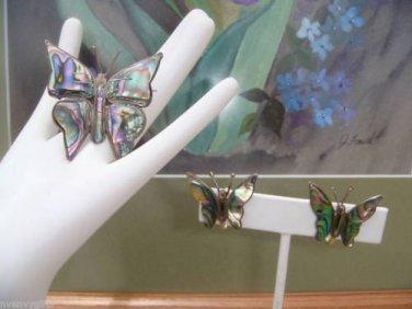 Beautiful Vintage TAXCO Sterling Silver Abalone Butterfly Brooch Earring Set